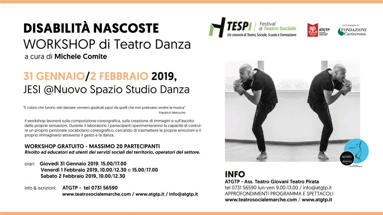 DISABILITA' NASCOSTE – workshop con Michele Comite @Nuovo Spazio Studio Danza JESI